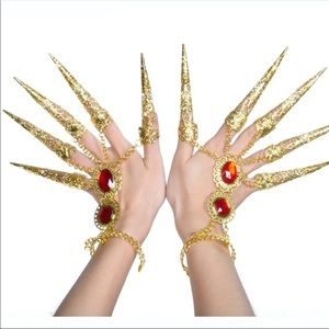 Accessories - Golden Bracelets Finger Covers And Face Veil
